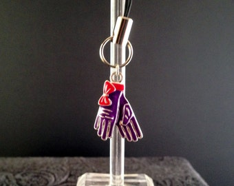 Lanyard Zipper Pull Charm Purple and Red and Silver Tone Gloves