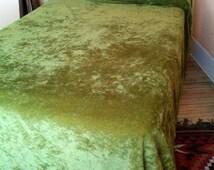 Vintage 1970s Bedspread Crushed Velvet Velveteen Coverlet Full Queen 2016226