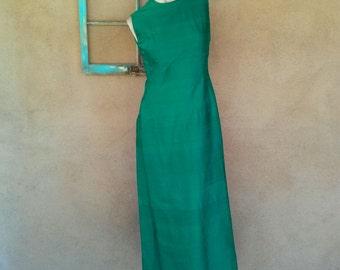Vintage 1960s Dress Green Silk 60s Long Wiggle Dress Shift US8 B35 2016285