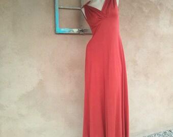 Vintage 1970s Dress Grecian Disco Rust B33 W26 2015492