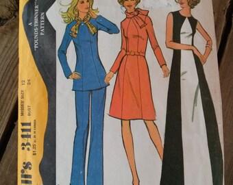 Vintage 1970s Pattern Pantsuit Tunic Dress McCall's 3411 B34 2015540