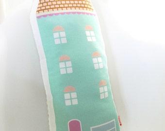 Mint Green House Plush Pillow / Children's Decor/ Modern Nursery/ Pillow/Cushion/House Soft Toy
