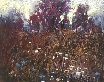 Contemporary Fall Landscape Wildflowers 8x10 Original Pastel Painting
