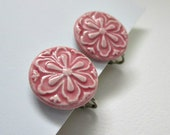 Pink Button Vintage Clip On Earrings