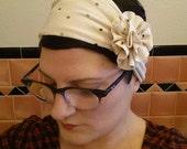 cream polk a dots flapper girl jersey knit headband