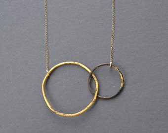 Interlocking Circle Necklace- in heavy gauge steel and gold
