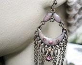 Vintage Copper Enamel Chandelier Earrings With Chains