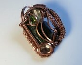 Copper & Multi Gem Wire Wrapped Pendant