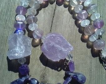 Amethyst, flourite and rose quartz necklace, semi precious gemstone necklace, natural stone necklace, raw amethyst necklace