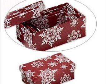 "Christmas Snowflake Designs Nesting Boxes Set 3 1/2 to 5 1/4"" 4pc set"