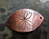 Hammered Antiqued Copper Lotus Stamped Bracelet Focal