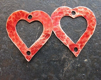 Russet Red Hammered Hole Punched Copper Heart Charms - 1 pair