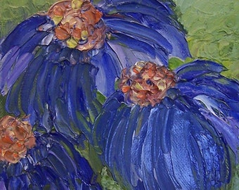 blue flowers impasto oil painting 6 x 6 inches very deep edges