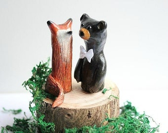 Wedding cake topper Fox and Bear  - Clay Fox and Bear  - Woodland Cake Topper - Rustic Wedding Cake Topper -READY TO SHIP