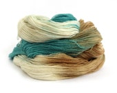 Blue laceweight wool, handdyed BFL silk lace yarn, hand dyed Perran Yarns Sandy Toes, bluefaced leicester variegated skein, sand beige cream