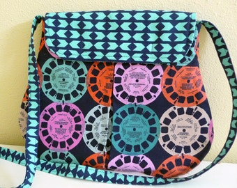 Retro Viewfinder Pleated Hipster Bag, Playful Cotton Purse
