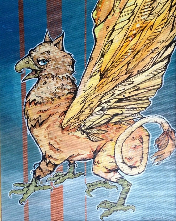 Griffin original framed acrylic painting - Guardian of the Divine