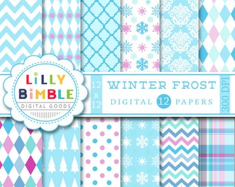 50% off Winter Frost digital scrapbook papers, blue, light blue, purple, lavender, snowflakes, Instant Download, paper