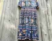 Vintage Bohemian Dress/80s Bohemian Dress/Festival Dress/Bohemian Maxi Dress