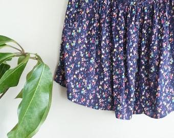 FLORAL Navy Skirt- Summer Skirt for Women- Floral Fabric- Mini Skirt- Vintage Clothing for Women- Bohemian Festival Skirt~ Circle Skirt