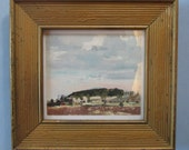 Garden Hill, Original Oil Landscape Painting on Paper, Framed Ready to Hang