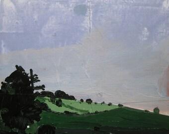 Night Hush, Original Autumn Landscape Collage Painting on Panel, Ready to Hang, Stooshinoff