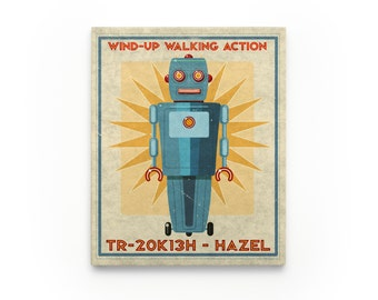 Kid Decor- Hazel Retro Robot Art Series Block- Art for Boys Room- Robot Nursery Art- Robot Nursery Decor Boy- Kid Bedroom
