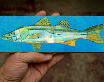 "Beach Home Decor Medium Saltwater Fish Art Block- Snook Print- 9""x3"" Fish Wall Decor Fisherman Gift for Husband Gift- Beach Decor Fish Gifts"