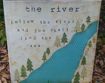 The River Mountain Woodland Nursery Art Decor Camping Rustic Painting Folk Custom Girl Boy Children's Room Wall Navy Orange Green