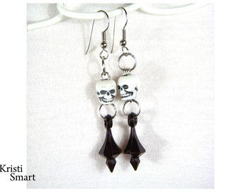 skull earrings Understated victorian goth