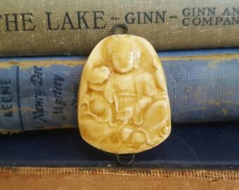 Ceramic Porcelain Buddha Pendant Connector Amber Crackle