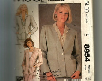 McCall's Misses' Jacket Pattern 8954