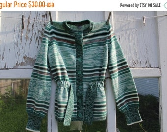 40% FLASH SALE- Vintage Green Cardigan-Carsom Pirie Scott-Acrylic-Striped-Button Up