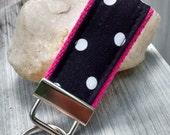Mini Key Fob/Key Chain - Black and White dots on hot pink - inspired by Perfectly Posh