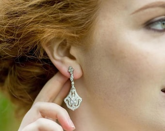 New In Drop Filigree And Crystal Earrings, VICKY