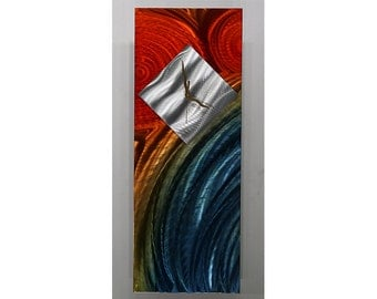 Multi-Color Abstract Metal Wall Clock - Colorful Modern Metal Wall Art - Contemporary Accent - Clock Art - CLK 363 by Jon Allen