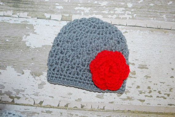 crochet baby hat, flower beanie, grey hat, knitted girl hat, christmas, red flower, winter hat, photo prop, baby shower gift, 6 mo