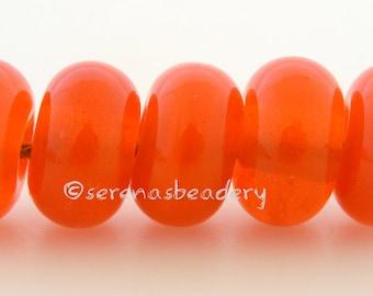 Lampwork Spacer Glass Beads 5 TANGERINE SPARKLE Glossy & Matte Handmade Donut Rondelle - 8 to 10 mm