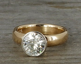 Two Tone Moissanite Ring - Forever Brilliant moissanite, Recycled 950 Palladium, and Recycled 14k Yellow Gold, Wedding/Engagement, size 5