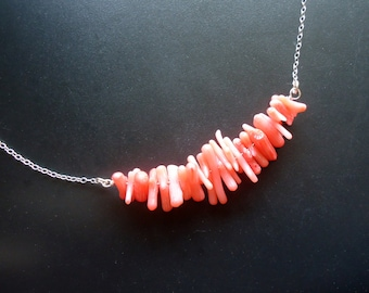 Sterling Silver and Coral Necklace