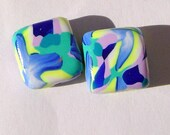 Landscape Handmade Artisan Polymer Clay Beads Pair
