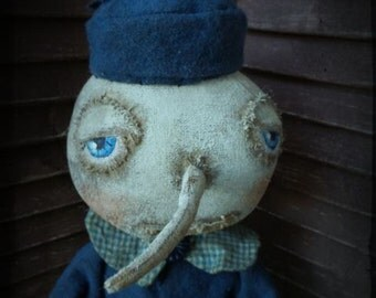 VERY Primitive, Extreme Primitive, Folk Art, Snowman, Snowlady, Winter, Vintage, Doll, Hafair, TeamHaHa, Blue, White, by Mustard Seed Origin
