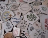 Mosaic Tiles Mixed Media Pieces Hand Cut Broken Plate Assortment Mix Words Maker Marks ads Letters Vintage