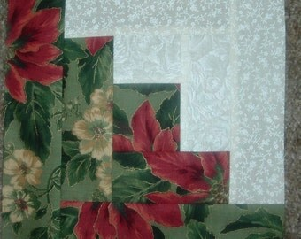 Set of 12 Presewn Individual Log Cabin Quilt Blocks Christmas 8.5 inches