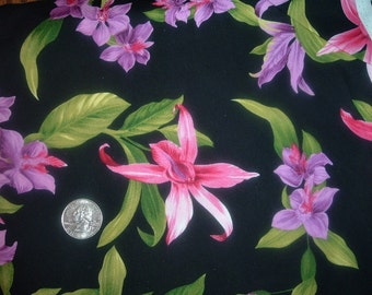 Quilt Fabric Destash Pink Purple Orchids on Black David Textiles By the Half Yard