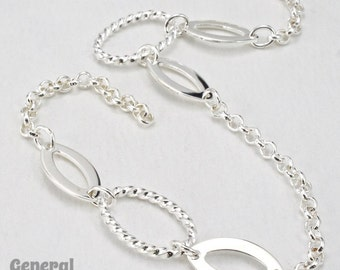 12mm x 17mm Bright Silver Oval Link with Cable Chain (10 Ft.) #CCB208