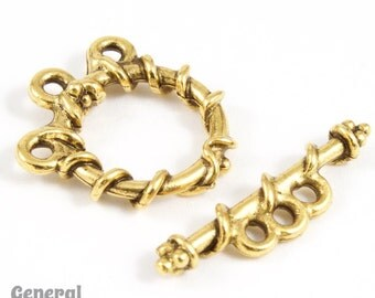 15mm Antique Gold Wrapped 3 Strand Pewter Toggle Clasp #CLA126