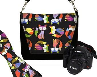 SET Dslr Camera Bag and Dslr Camera Strap, Camera Bag Slr and Camera Neck Strap, Cute Colorful Hipster Foxes black purple green orange  MTO