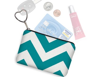 CLEARANCE Chevron Credit Card Holder Coin Purse Keychain Key Fob Business Card Holder Teal Blue White Fabric Change Purse  RTS