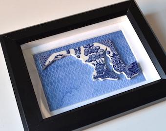 Framed Recycled China Maryland - Blue Chevron